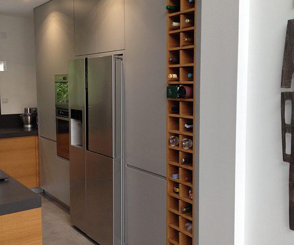 Casiers à vin integrés dans cuisine