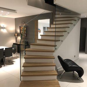 escalier garde corps vitré